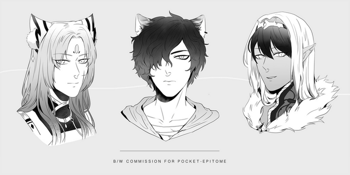 B/W Commission for Pocket-epitome by RNbeammer