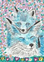Mother and baby blue fox watercolor aceo painting by tulipteardrops