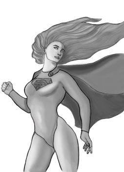 Supergirl gray scale study by BannedFiveToOne