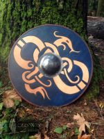 Jormangandr Viking Round Shield by OldWaysLeather