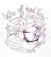 Alice in wonderland tat sketch by Nevermore-Ink
