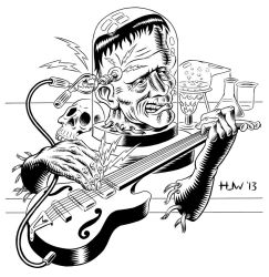 Electric Frankenstein Final Inks by Huwman