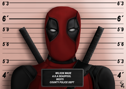 Mugshot Deadpool by Sassalang