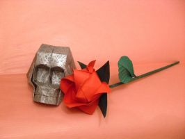 Origami Skull and rose by Orestigami