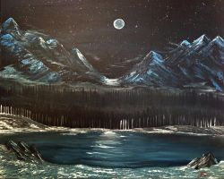 Moonlit Mountains by Knzobi