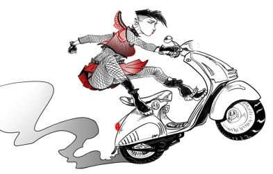 Punk Girl on a Vespa by DecayingArt