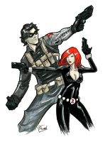 DragonCon Sketch: Black Widow and Winter Soldier by Shono