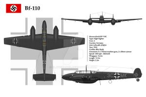 Bf-110C NJG4 3-View by WS-Clave