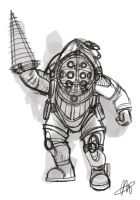 Big daddy sketch Bioshock :) by minoanoa
