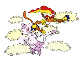 Mienshao and Infernape