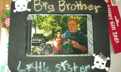 Brother and sister chalkboard photo frame by ZombieCharms