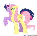 My little conjoined pony - Twilight and Fluttershy by TRADT-PRODUCTION