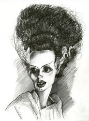 Elsa Lanchester in The Bride of Frankenstein -1935 by Caricature80