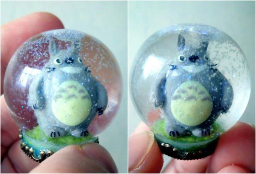 Totoro in a snow sphere by Shalfairy