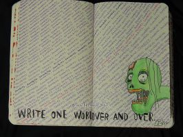 one word over and over - Wreck This Journal by JennyArchibald