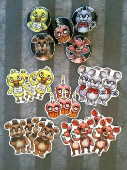 Fnaf buttons + sticker pack by Kiibie