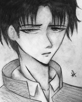 Charcoal sketch of Captain Levi from AOT by the-last-artbender