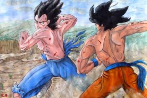 Sparring Saiyans -Watercolour by The-Ebony-Phoenix