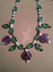 Amethyst and Glass Beaded Necklace, One of a Kind by TheCraftyMaiden