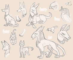Egyptian Gods Sketches by TeniCola