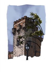 Tower of the palace by ChemaIllustration