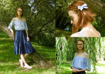 Thrifted Upcycle: Shirt to Blouse and hair bow by LualaDy