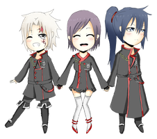 PC: Chibi Allen, Lenalee, and Kanda by PineNAPPO