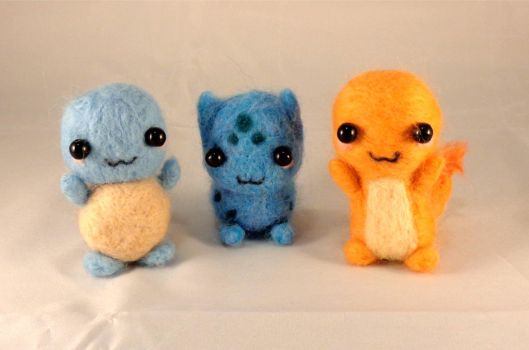 Complete Set of Needle Felted Kanto Starters! by StarlitCutesies