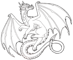 Flying Dragon Lineart- FREE TO USE by Lucieniibi