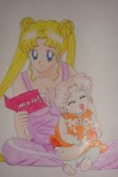 Serena and baby Rini by silvermoonmagic
