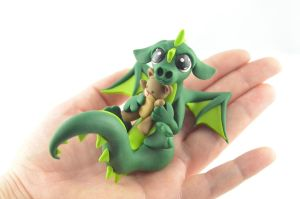 Dragon with a Teddy Bear by claymeeples