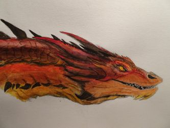 Watercolor: Smaug the Terrible by Lonestarnoctus123