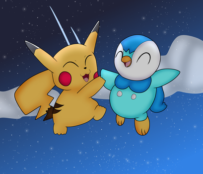 Pikachu and Piplup Are Friends Forever Redraw by DoraeArtDreams-Aspy