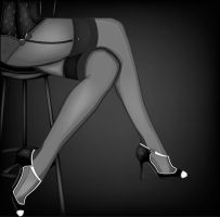 Cabaret Legs - Black and White by Katiism