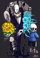 Gaster, his followers, goner kid and sans by AnicMJ