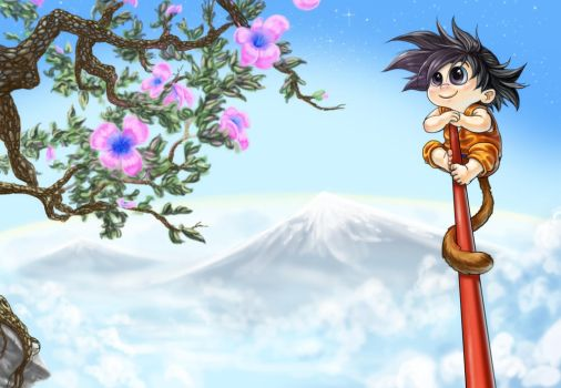 Goku Exploring Above the Clouds by Zinfer