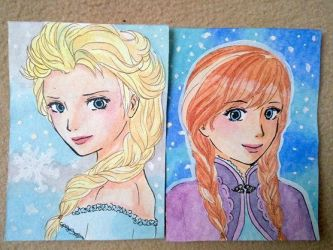 ACEO cards Elsa and Anna by YorukoHimesama
