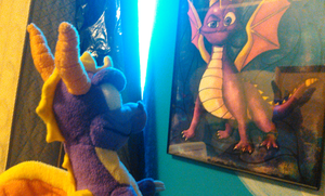 Spyro Looking At His Portrait by TwistedDarkJustin