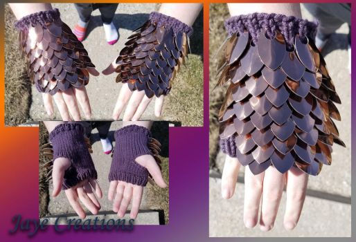 Shiny Copper on Purple Small Gauntlet Pair by WuffJaye
