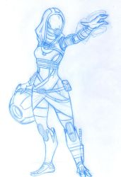 Tali'Zorah pencil sketch for a cover project by animemagix