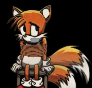 Tails tied up and gagged on a stool (edited) by TailsModernStyle