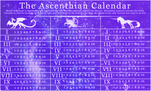 Calendar of Ascenthos by strideroo