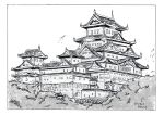 Ancient Japanese Fortress - Ink by JimHoyer