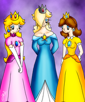 Peach, Rosalina and Daisy by Luaisy