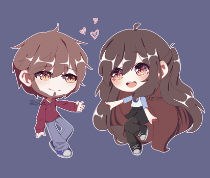 [Gift + SPEEDPAINT] Cute chibis in love by May-Itou