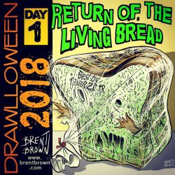 Drawlloween2018-Day1: Return of the Living Bread by bre-bro