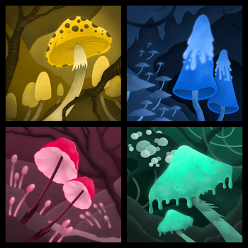 22/04/2018 - One Color Mushies #1-4 by hubertspala