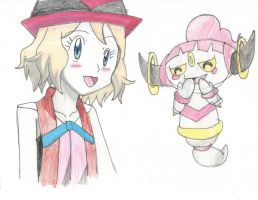 Serena and Hoopa by Pikafan09