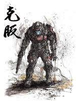 Halo ODST soldier Overcome with sumi ink by MyCKs