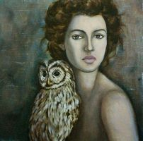 Lady with owl by PaolaCamberti